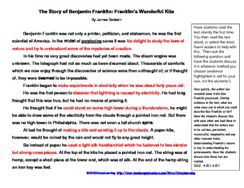 Close Read in Fourth and Fifth Grade Ben Franklin