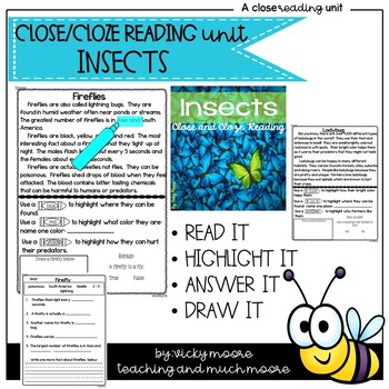 Close Reading { insect themed } + Cloze reading