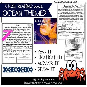 Close Reading { ocean themed } Non-Fiction Text