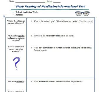 Graphic Organizer for Close Reading & Analysis of Informational/Nonfiction Texts