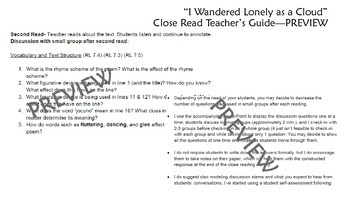 "Close Reading of Poem - ""I Wandered Lonely as a Cloud"""