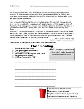 Ch 7.3 Sociology - Close Reading of a Primary Source - Common Core Worksheet