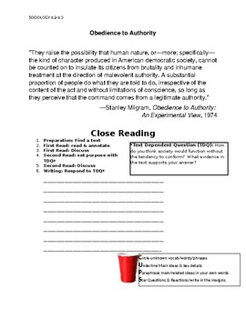 Ch 6.2-6.3 Sociology Close Reading of a Primary Source - Common Core Worksheet