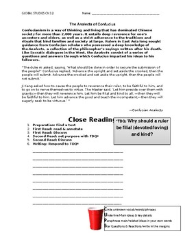 Ch 6.1 World History Close Reading of a Primary Source - Common Core Worksheet