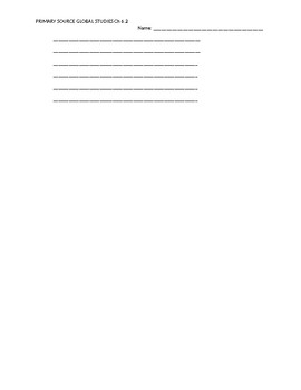 Ch 6.2 World History Close Reading of a Primary Source - Common Core Worksheet