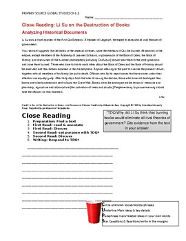 Ch 6.3 World History Close Reading of a Primary Source - Common Core Worksheet