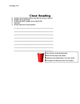 Ch 5.1 Sociology - Close Reading of a Primary Source - Common Core Worksheet
