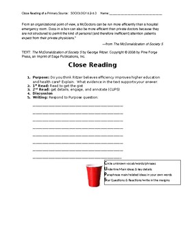 Ch 6.4 Sociology Close Reading of a Primary Source - Common Core Worksheet