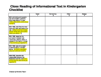 Close Reading of cComplex Text  Student Checklist