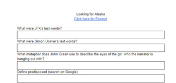 Close Reading the Opening of John Green's Novel Looking for Alaska w/ Excerpt