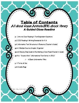 Close Reading using EPIC's Ocean Animals