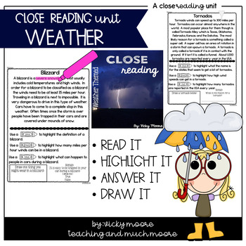 Close Reading { weather themed } Non - Fiction Text
