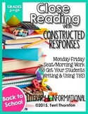 Close Reading with Constructed Response Seat Work: Back 2 School