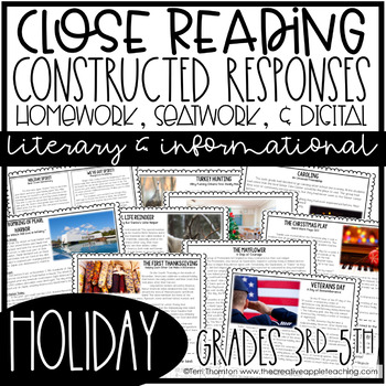 Close Reading with Constructed Response Seat Work/Homework: Holidays
