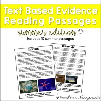 Text Based Evidence Reading Passages - Summer (Incl. Distance Learning Version)