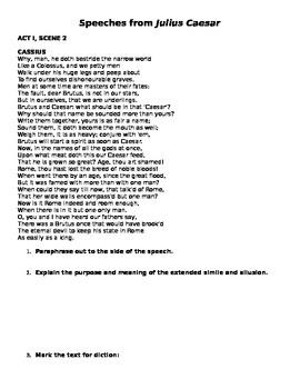 Close Reading with Julius Caesar Speeches