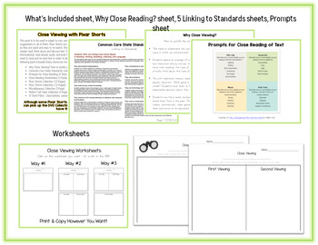 Close Reading with Pixar Shorts - 110+ Pages on Close Viewing with Film for Kids