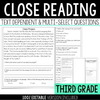 Close Reading with Text Dependent and Multi-Select Questio