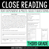 Close Reading with Text Dependent and Multi-Select Questions - Reading Test Prep