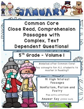 Jan. 5th- Close Read Comprehension Passages with Questions CC Aligned