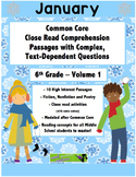 Jan. 6th- Close Read Comprehension Passages with Questions CC Aligned