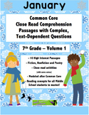 Jan. 7th- Close Read Comprehension Passages with Questions CC Aligned