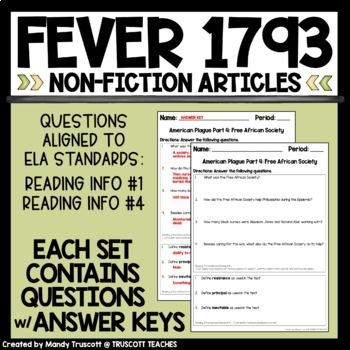 Close Readings from An American Plague by Jim Murphy; Fever 1793 Supplement