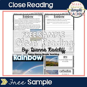Close Reading: Free Sample {Standards Based}