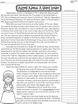 American Revolution, Revolutionary War, Leveled Passages 4th Grade SAMPLER