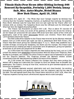 Titanic Lesson Primary Documents 1912 NY Times Close Read