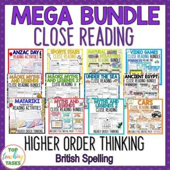 MEGA BUNDLE Close Reading Comprehension Passages and Questions NZ