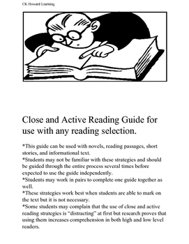 Close and Active Reading Guide: for use with any reading s