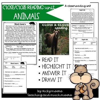 Close and Cloze Reading { Animals Edition } Non - Fiction Text