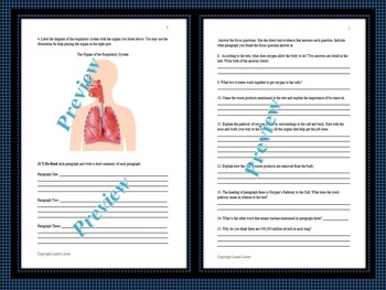 The Respiratory System Close and Cloze Reading