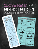 Close read annotation symbol bookmarks and poster
