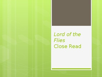 Close read of chapter 1 in Lord of the Flies