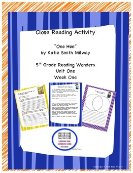 "Close reading activities for ""One Hen"" Reading Wonders 5th Grade"