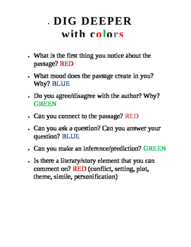 Close reading discussion questions with color coding