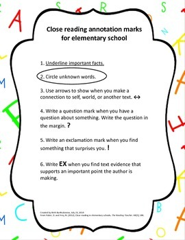 Close reading marks for elementary school