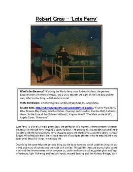 Close reading notes - analysis of Robert Gray, 'Late Ferry'