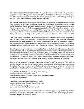 Close reading notes - analysis of Robert Gray, 'North Coast Town'