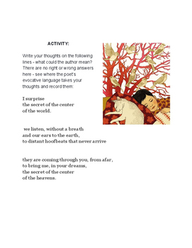 """Close reading poetry assignment for Juan Ramon Jimenez """"When With you Asleep"""""""