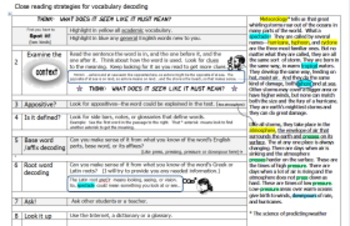 Close reading strategies for vocabulary decoding through context, base, root
