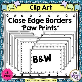 Close Edge Borders Paw Prints  Set of 28 borders in Landscape & Portrait Format