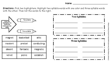 Closed 2 and 3 Syllable Highlight Sort