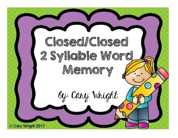 Closed/Closed Syllable Words Memory Game