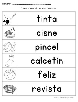 Spelling: Writing Closed I Syllables (Spanish)