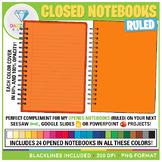 Closed Notebooks Clip Art (Ruled)