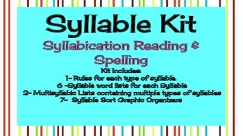 Syllable Kit - includes Multisyllabic Words - 6 Syllable Types