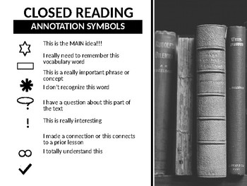 Closed Reading Annotation Chart For PowerPoint